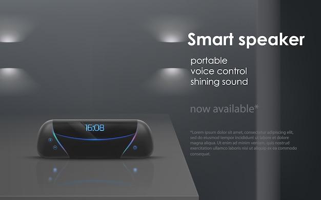 Maqueta realista con altavoz inteligente portátil negro sobre fondo gris.