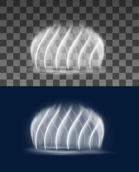 Maqueta realista de chorros o aerosoles en cascada de fuente. fuente de círculo de parque o jardín con chorros de forma de espiral iluminados, que brillan intensamente en la oscuridad, cascadas de agua decorativas de vector 3d