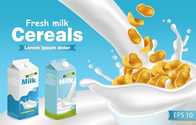 Maqueta realista de leche y cereales.
