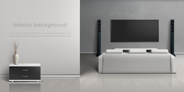 Maqueta realista de sala de estar con sistema de cine en casa moderno.