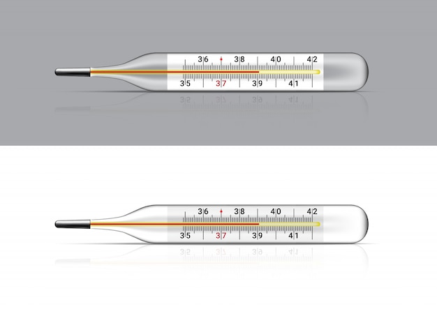 Maqueta realista termómetro médico para el control de la fiebre. hospital demasiado