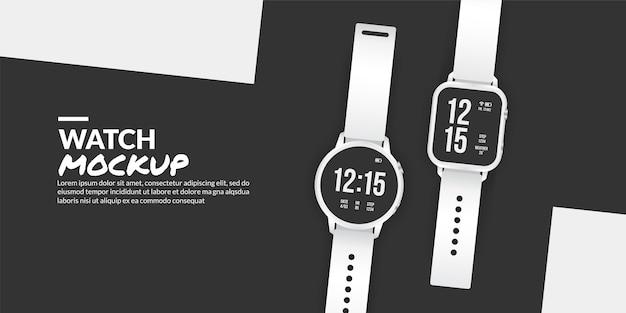 Maqueta de reloj inteligente moderno aislado con espacio de copia en el lateral