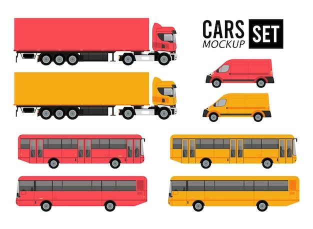 Maqueta set colores coches vehículos transporte