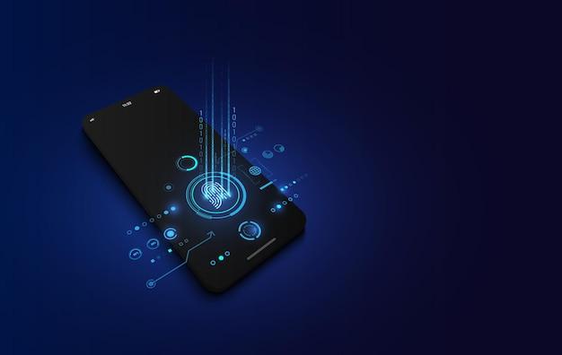 Maqueta de smartphone realista y escaneo de huellas dactilares en pantalla, concepto de tecnología cibernética de seguridad.