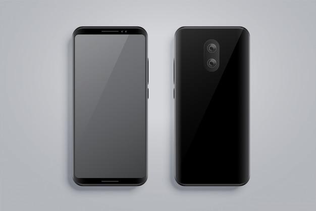 Maqueta de smartphone realista con parte delantera y trasera.