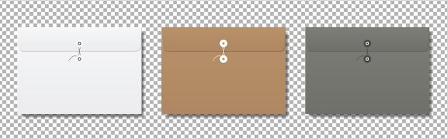 Maqueta de sobres de papel en blanco realista.