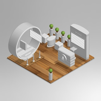 Maqueta de stand de exhibición vector isométrico 3d
