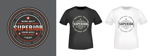 Maqueta superior de sello y camiseta
