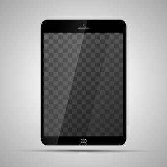 Maqueta de tableta brillante realista con lugar transparente para pantalla