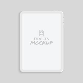 Maqueta de tableta de renderizado de arcilla mínima con pantalla en blanco
