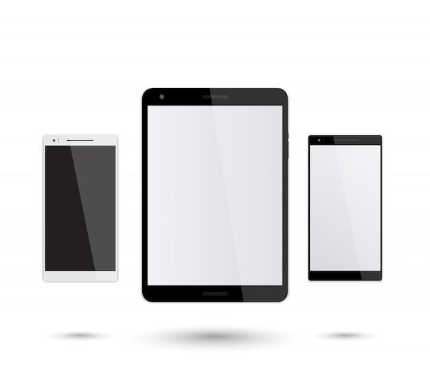 Maqueta de tableta y teléfono inteligente en blanco, plata y negro teléfono inteligente, tableta negra moderna, ilustración