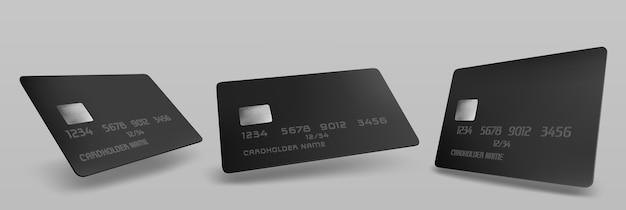 Maqueta de tarjeta de crédito negra, plantilla en blanco aislada con chip en gris