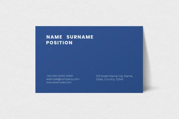Maqueta de tarjeta de visita simple en tono azul