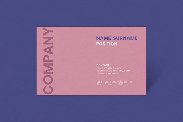 Maqueta de tarjeta de visita simple en tono rosa