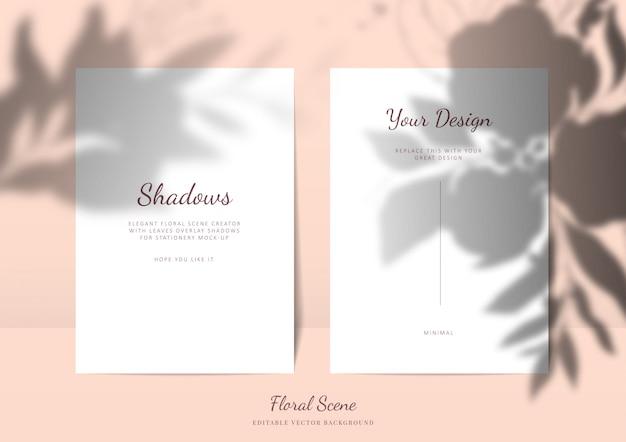 Maqueta de tarjetas elegantes con sombras superpuestas florales. escena de vector de tarjeta de papelería vacía editable con fondo de flores