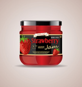Maqueta de tarro de cristal diseño de paquete de mermelada de fresa