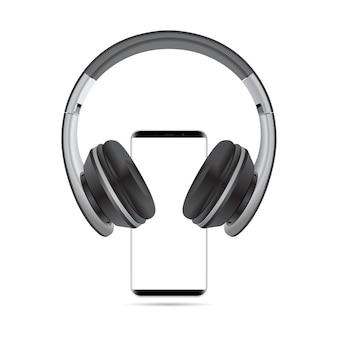 Maqueta de teléfono de la cabeza auriculares en blanco de teléfono inteligente 3d