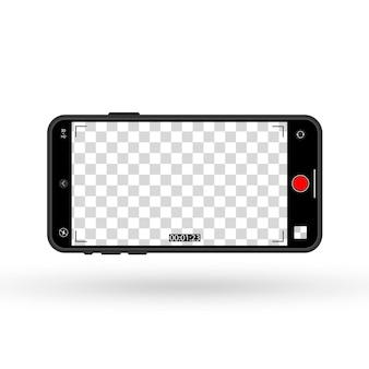 Maqueta de teléfono con cámara encendida