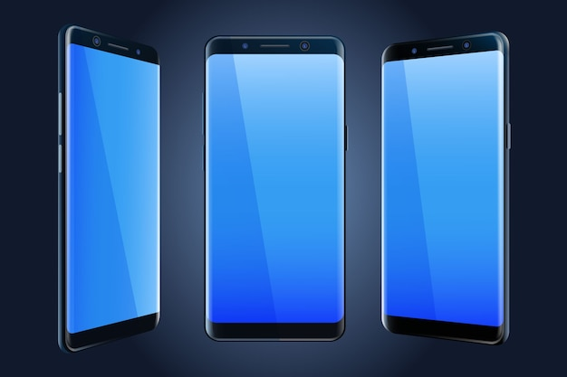 Maqueta de teléfono inteligente en diferentes vistas