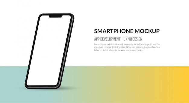 Maqueta de teléfono inteligente con pantalla en blanco, plantilla para desarrollo de aplicaciones y diseño ux / ui