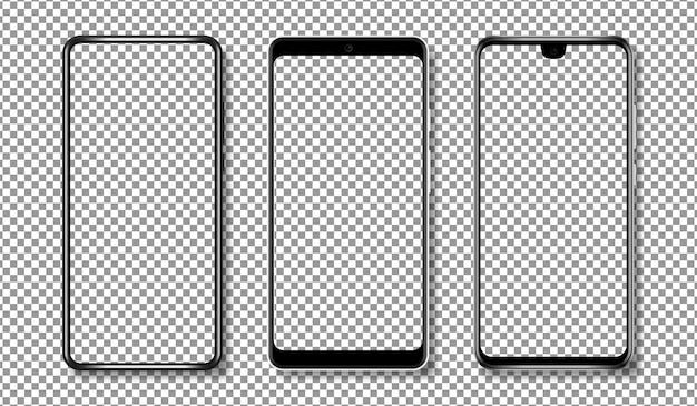 Maqueta de teléfono inteligente con pantalla transparente.