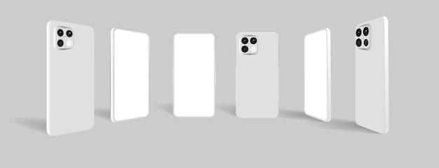 Maqueta de teléfono inteligente realista con frente y parte posterior