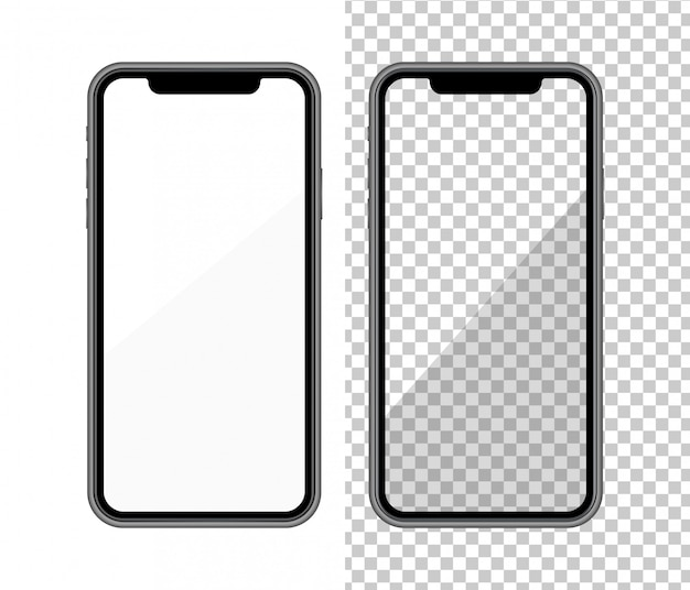 Maqueta de teléfono inteligente realista. marco del teléfono celular con pantalla en blanco.