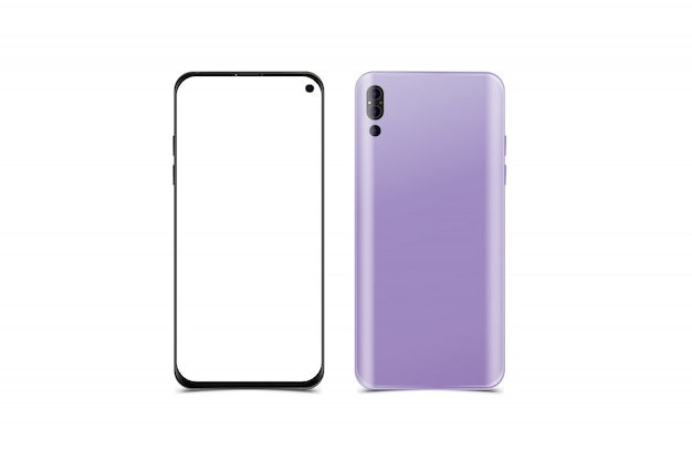 Maqueta de teléfono inteligente realista, parte frontal con pantalla y parte posterior con cámaras.