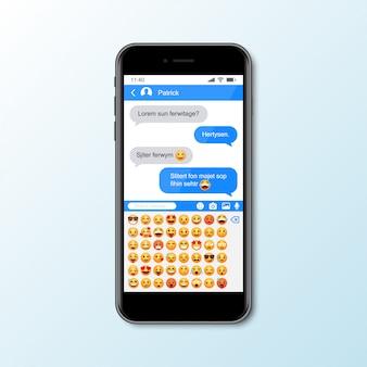 Maqueta con teléfono inteligente con ventana de mensajería para redes sociales