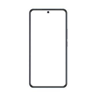 Maqueta de teléfono con marco negro y pantalla blanca en blanco