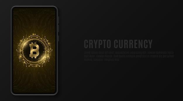 Maqueta de teléfono móvil con bitcoin dorado en pantalla táctil.
