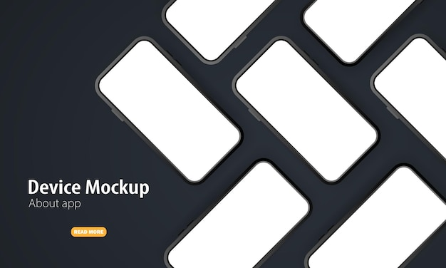 Maqueta de teléfono móvil con pantallas en blanco. ilustración vectorial