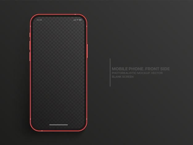Maqueta de teléfono móvil realista con foto con pantalla en blanco aislada sobre fondo gris oscuro