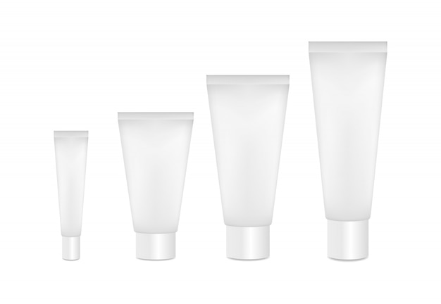 Maqueta de tubos cosméticos. tubos de diferentes tamaños.