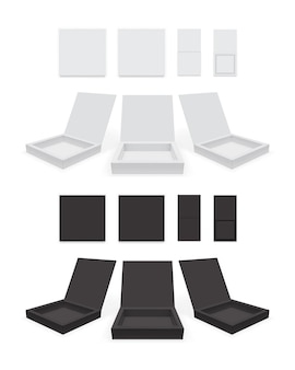 Maqueta de vector de caja de papel blanco y negro abierto