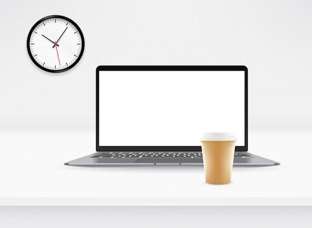 Maqueta de vector con computadora portátil moderna y reloj