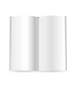 Maqueta de vector de folleto delgado aislado en blanco. listo para un contenido