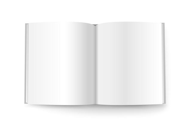 Maqueta de vector de libro abierto aislado en blanco. listo para un contenido