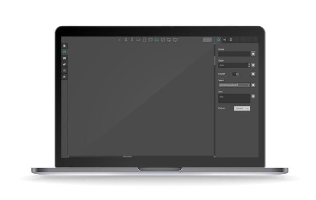 Maqueta de vector de portátil moderno con interfaz oscura