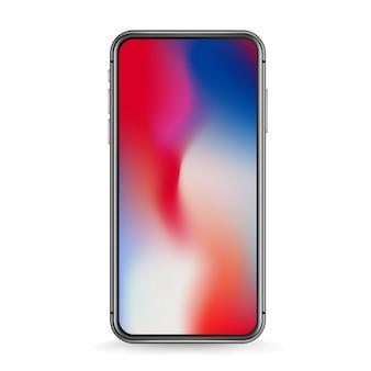 Maqueta de vector de smartphone moderno aislado en blanco. smartphone con fondo degradado. coloca cualquier contenido en la pantalla