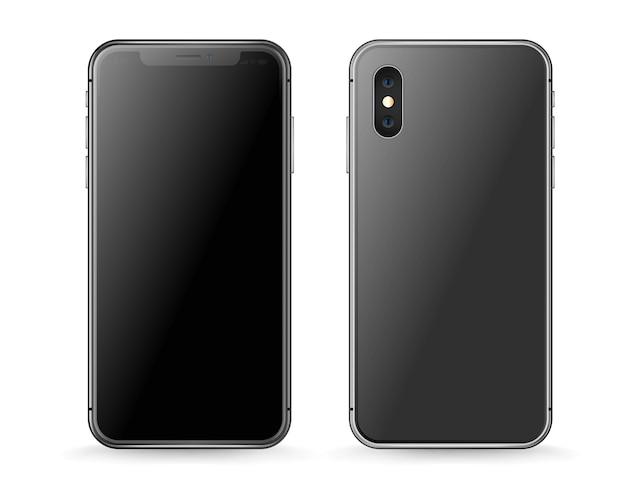 Maqueta de vector de smartphone moderno aislado en blanco. vista frontal y posterior