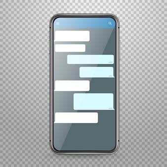 Maqueta de vector de smartphone de tableta moderna con plantilla de aplicación de mensajería plantilla de discusión