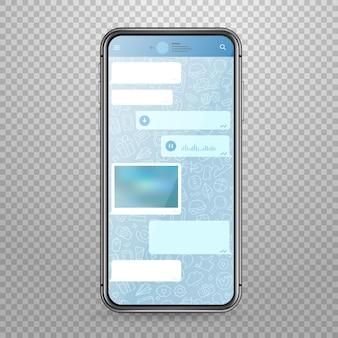 Maqueta de vector de teléfono inteligente tableta moderna con plantilla de aplicación de mensajería