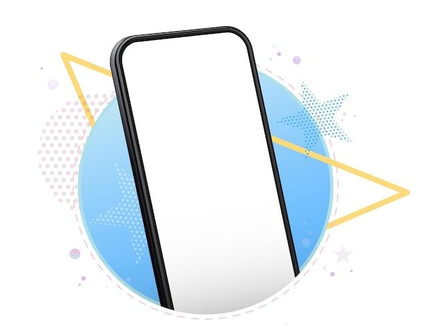 Maqueta de vector de teléfono móvil con geométrica
