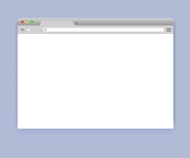 Maqueta de la ventana del navegador en blanco simple