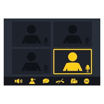 Maqueta de videoconferencia y página de vector de espacio de trabajo de reuniones en línea. interfaz de seminario web. comunicación online, charlando. atención al cliente. interfaz de usuario, superposición de ventana de videollamadas