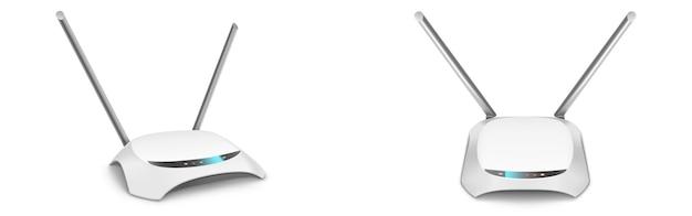 Maqueta de vista frontal y lateral del enrutador wifi, dispositivo doméstico en blanco con antenas para conexión inalámbrica a internet aislado sobre fondo blanco.
