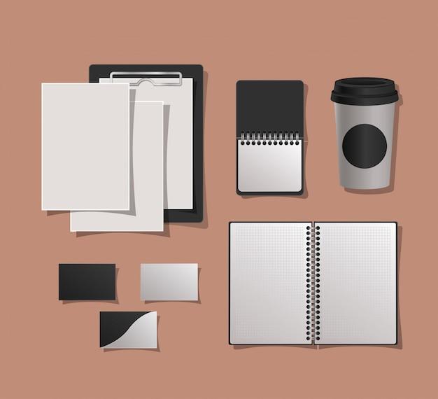 Maquetas cuadernos taza y tarjetas