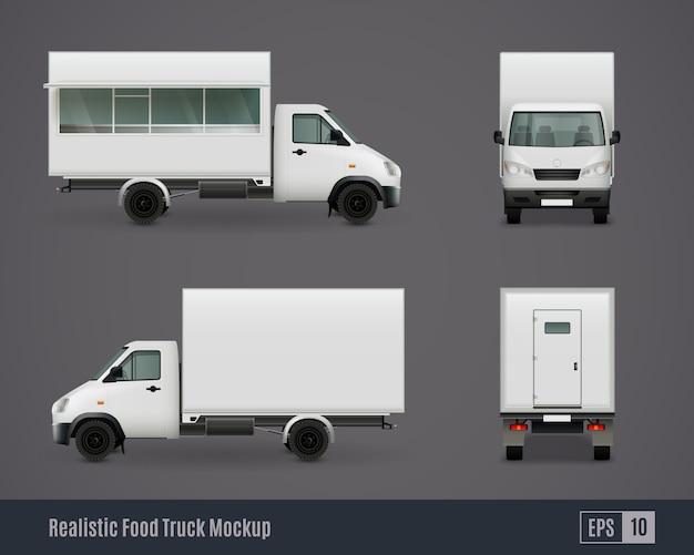 Maquetas de furgonetas de motor de alimentos