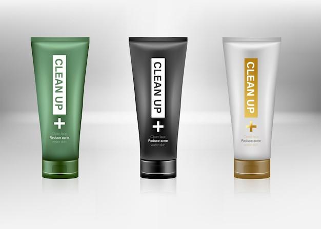 Maquetas de paquetes de cosméticos envases de plástico 3d conjunto realista de vector de champú o crema facial